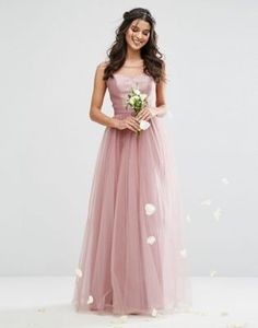 Chi Chi London Sweetheart Tulle Maxi Dress With Satin Bodice