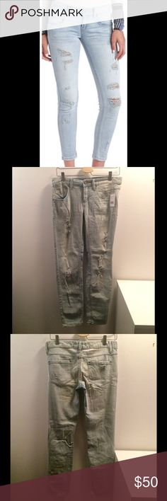 Free People Coachella Wash Jeans Get 25% off this weekend! NWT Build a stylish reputation on the back of this daringly destructed Free People jean. Stretch denim jean rocks a mid rise and a slim, straight leg. Destroyed detailing and abrasions create the look of a broken-in favorite. Free People Pants Skinny