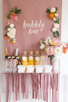 Mimosa Monday, anyone? How cute is this Bubbly Bar for a bachelorette party! We'll be daydreaming about it all day 🥂 Bubbly Bar, Bar Mimosa, Bachelorette Party Decorations, Bridal Shower Decorations, Bridal Shower Favors, Bachlorette Themes, Classy Bachelorette Party, Bar Decorations, Bridal Shower Pink