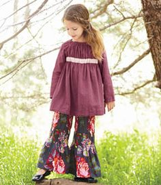 sweet gathers top with floral pleated bell bottoms
