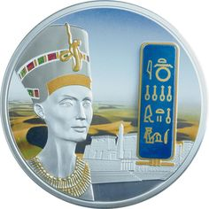 Nefertiti Egyptian Jewels Gold,Palladium,Gemstone 2012 Fiji  2 oz silver