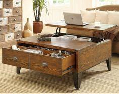 jolie table basse avec rangement, table basse relevable ikea en bois pour le salon