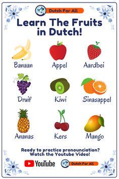 Dutch Phrases, Dutch Words, Dutch Language, German Language Learning, Fruit Names, Learn Dutch, Going Dutch, Volunteers, Platforms