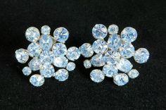 Blue Rhinestone Flower Earrings, Vintage Silvertone Clip ons