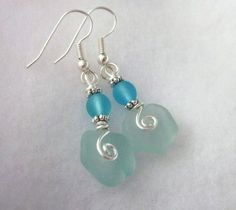 Sea Glass Jewelry Sea Glass Earrings by NauticalSeaGlass on Etsy
