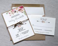 Boho Wedding Invitation Rustic Wedding by LoveofCreating on Etsy