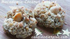 Sugar and Gluten free Macadamia Coconut Cookies - made with Stevia and Xylitol Gluten Free Sweets, Gluten Free Cookies, Gluten Free Baking, Gluten Free Recipes, Anti Candida Diet, Candida Diet Recipes, Macadamia Cookies, Coconut Cookies, Healthy Snacks