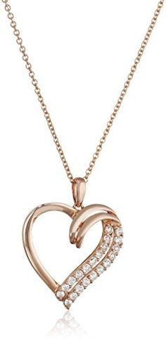 "Sterling Silver with Rose-Gold Plating Created White Sapphire Heart Pendant Necklace, 18"" Amazon Collection http://www.amazon.com/dp/B00GJFUU1Y/ref=cm_sw_r_pi_dp_VVWNwb01XJDGM"