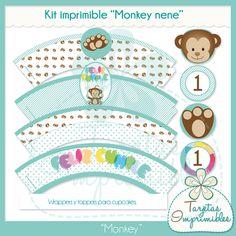 El Kit imprimible Monkey nene está diseñado para decorar y ambientar la fiesta de cumpleaños de tu hijito con una temática especial y personalizada. http://mtiendas.com/producto/3838/kit-imprimible-monkey-nene/