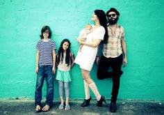 Hipster family pose