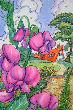 Sweet Peas in the Garden |