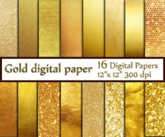 Gold Foil Digital Paper: GOLD DIGITAL PAPER by ChiliPapers on Etsy