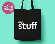 My Stuff Tote Bag / Minimalist Tote Bag / Long Handles / Gift for Design Lover / Original Design Cotton Tote