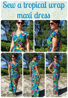 Pitääpä etsiä tähän sopiva trikoo. Free pattern and tutorial on how to make this tropical wrap maxi dress pattern.