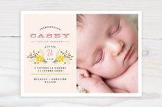 Simple Bouquet Birth Announcements by Kristie Kern Birth Announcement Photos, Birth Announcements, Cute Stationary, Paper Supplies, Custom Stamps, Wedding Paper, Baby Gear, Photo Cards, Your Cards