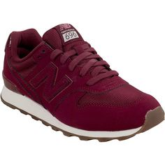 New Balance 696 Monochromatic Women's Athletic Sneaker ($80) ❤ liked on Polyvore featuring shoes, sneakers, red, nubuck leather shoes, red sneakers, new balance shoes, slim shoes and new balance sneakers