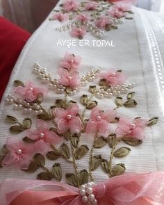 silk ribbon embroidery designs and techniques Ribbon Embroidery Tutorial, Hand Embroidery Dress, Hand Embroidery Videos, Embroidery Flowers Pattern, Silk Ribbon Embroidery, Hand Embroidery Designs, Embroidery Stitches, Embroidery Supplies, Diy Lace Ribbon Flowers