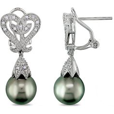 Miadora Sterling Silver Tahitian Pearl and Diamond Accent Earrings ($153) ❤ liked on Polyvore featuring jewelry, earrings, white, tahitian pearl earrings, sterling silver jewelry, sterling silver jewellery, pave earrings and tahitian pearl jewelry