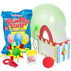 Our Circus Favor Pack features our exclusive circus favor box. The Circus Party Pack includes six great kids favors. The circus treat box measures 6 inches wide x 6 3/4 inches high.