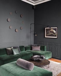 Green Velvet Sofa And Grey Walls Home Living Room Green Living Room Grey, Living Room Sofa, Interior Design Living Room, Living Room Furniture, Living Room Designs, Living Room Decor, Baker Furniture, Furniture Design, Luxury Furniture