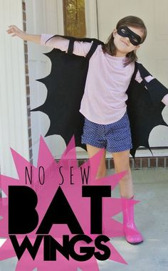 Need a quick, last minute costume or just something new and awesome to add to your dress up collection? These easy bat wings fit the bill either way!