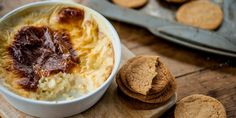 Josh Eggleton shares a homely rice pudding recipe with Great British Chefs.com, serving with dunk-able ginger snap biscuits on the side