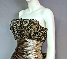 80s AJ Bari Dress  Poufy Spangled Gold by rubyinthedustvintage, $165.00