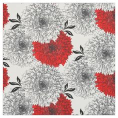 Stylish, modern, bold, fabric print in red, black and white. Big carnation flower heads really pop out at you; available in a choice of fabric styles and cut to lengths to suit your sewing and craft needs. Grey And Red Living Room, Fabric Design, Pattern Design, White Carnation, Red And White, Red Black, Carnations, Flower Prints, Fabric Flowers