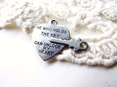 2 Silver Metal Heart and Exact Fit Key Charm BFF Best by BuyDiy, $4.98