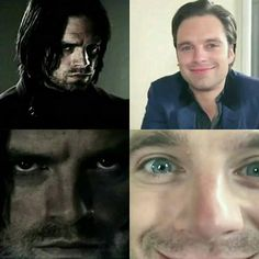 Bucky Vs Sebastian Bucky is this tortured hardened assassin and Sebastian over here is just a fucking cupcake. He's the cutest thing on earth. Seriously. Where can I buy Sebastian Stan?!