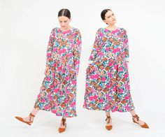 Vintage 90s Floral Oversize Dress - Cotton Jersey Knit T-shirt Dress - Boho Grunge Long Sleeve Loose Drop Waist Dress by SHOPPOMPOMVINTAGE