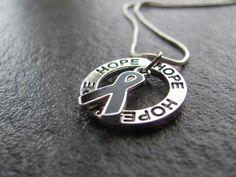 Melanoma Cancer Ribbon Necklace: Ring of Hope Necklace with Black Ribbon, Skin Cancer Awareness #cancer #skincancer