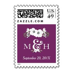 Custom Color Background to match your wedding; Floral Wedding Monograms Ampersand Postage Stamp
