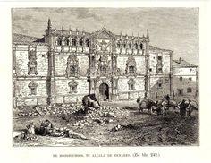 Antique print Alcalá de Henares / Spain 1887 school Alcala Madrid
