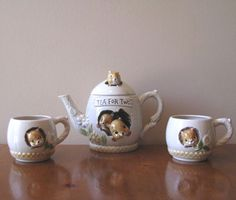 Vintage 1977 Enesco Figural Chipmunk Teapot and Cup Set from WhimsicalVintage Exclusively on Ruby Lane