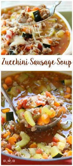 Zucchini Sausage Soup - easy recipe for a delicious sausage soup packed with veggies- and you get to use some of that zucchini from your garden! Butter With A Side of Bread