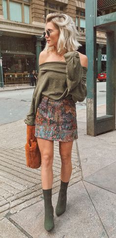 #fall #outfits women's brown off-shoulder top. Click To Shop This Look.
