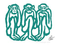 JACQUELINE DITT-  Wise Monkeys light petrol A3 limitiert signiert Grafik 3 Affen