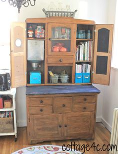 This one has the drawers for linens, a place for cookbooks, place for spices, prep area, and the bottom for baking supplies. Antique Hoosier Cabinet, Diy Chalkboard Paint, Painting Bathroom Cabinets, Kitchen Queen, Craftsman Kitchen, Office Makeover, Cabinet Decor, Cabinet Styles, Vintage Kitchen