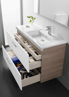 16 Awesome Vanity Ideas For Small Bathrooms - Modern small bathroom vanity with storage drawers - Bathroom Inspiration, Bathroom Decor, Trendy Bathroom, Small Bathroom Vanities, Laundry In Bathroom, Bathroom Furniture, Bathroom Storage, Bathroom Renovations, Bathroom