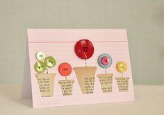 """Klapp Karte """"Knopf Blumen im Topf"""" Glückwunsch von Paperboat auf DaWanda.com Easy Valentine Crafts, Scrabble Art, Karten Diy, Button Cards, Handmade Birthday Cards, Flower Cards, Hobbies And Crafts, Diy Cards, Homemade Cards"""