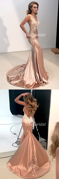 Sexy Mermaid Applique V-Neck Prom Dress, Spaghetti Straps Satin Prom Dress, D539