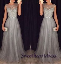 Elegant grey chiffon sequins long A-line prom dress with silver belt, ball gown 2016, modest prom dress