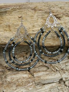 Check out this item in my Etsy shop https://www.etsy.com/listing/234346169/silver-and-black-dangles