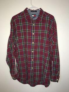 Mens TOMMY JEANS Hilfiger Button Front Shirt Red Plaid Large Cotton Green Blue L #TommyHilfiger #ButtonFront