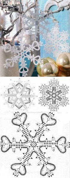 Новогодние снежинки крючком. Снежинки связанные крючком схемы   Домоводство для всей семьи