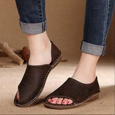 64.78$  Buy now - http://aliced.worldwells.pw/go.php?t=32655727394 - Asymmetrical . 2016 handmade sewing women's shoes vintage genuine leather shoes fluid women flats F071A 64.78$