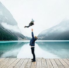 Photo of dad and baby son at Lake Louise, Alberta. This would be an amazing phot… Photo of dad and baby son at Lake Louise, Alberta. This would be an amazing photo to turn into a piece of keepsake art. Grace and Guts) Family Goals, Family Life, Into The West, Jolie Photo, Baby Pictures, Baby Love, Dad Baby, Father And Baby, Child Baby