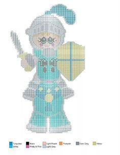 Knight 1 Plastic Canvas Crafts, Plastic Canvas Patterns, Canvas Door Hanger, Girl Decor, Cross Stitching, Paper Dolls, Needlework, Little Girls, Canvas Art