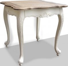 French Provincial Bed End Table in White Distress & Oak Top